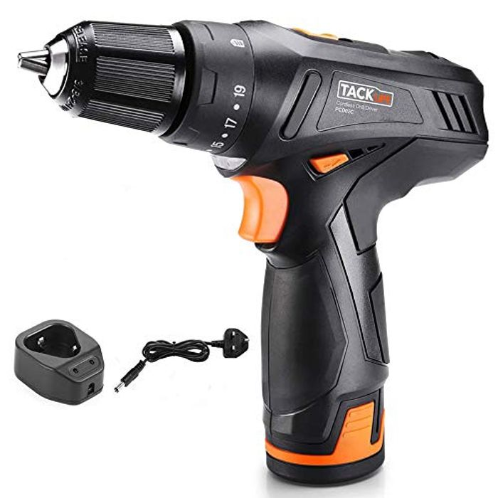 TACKLIFE Cordless Drill 12V,19+1Clutch,Variable Speed - Only £24.47!