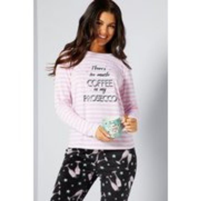 Coffee Prosecco Pink/Black Pyjamas and Mug Set