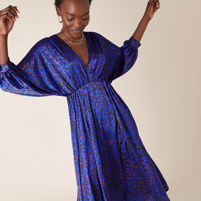 Monsoon-Animal Print Satin Midi Dress