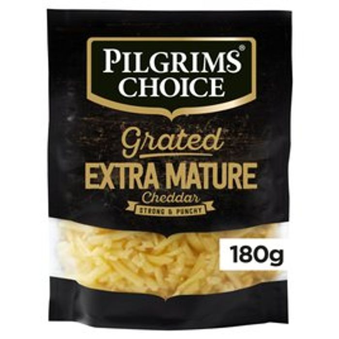 Pilgrims Choice Extra Mature Grated Cheddar 180g - Only £1!