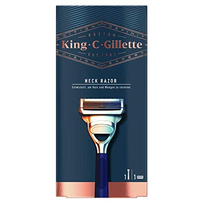 Gillette King C. Neck Razor for Men + 1 Stainless Steel Refill Blade