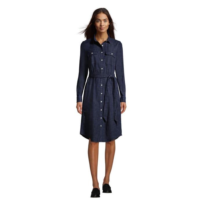 Lands' End-Blue Long Sleeves Denim Shirt Dress
