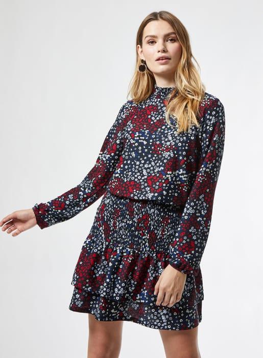 Dorothy Perkins-Multi Coloured Ditsy Print Sheered Mini Dress