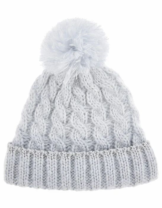 Baby Evie Shimmer Cable Knit Hat Blue