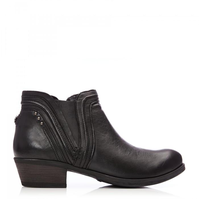 Moda in Pelle-Black Leather 'Alyss' mid Block Heel Ankle Boots