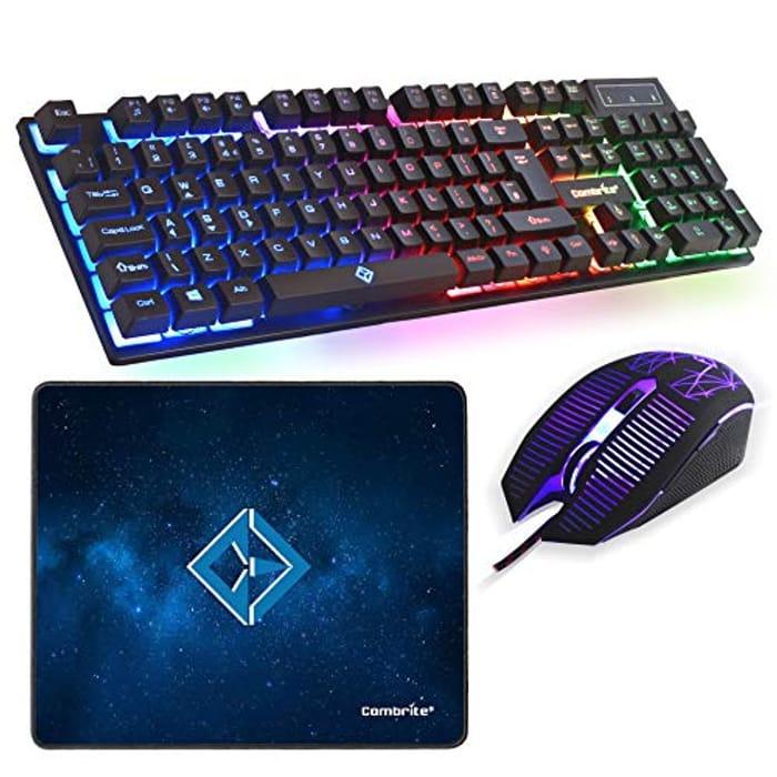 LIGHTNING DEAL - Combrite Raptor Gaming Keyboard and Mouse Set