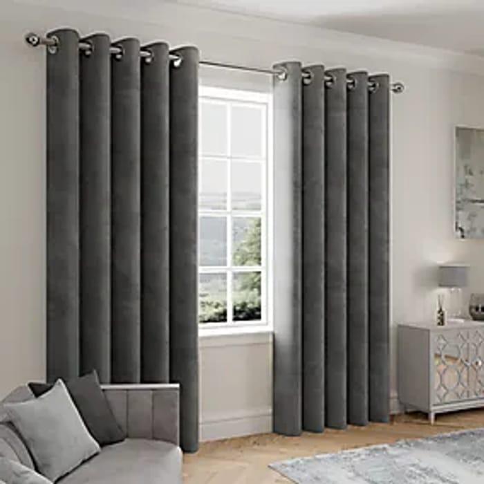 Stellar Thermal Charcoal Eyelet Curtains