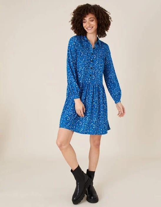Suki Printed Shirt Dress with Organic Cotton Blue