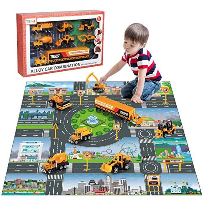 TEMI Diecast Engineering Construction Vehicle Toy Set - Only £18.19!