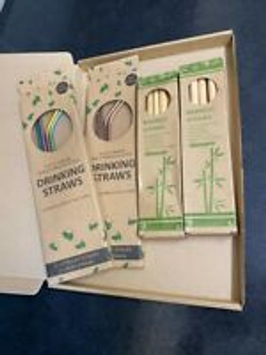 2 Boxes 4 X Metal Stainless Steel + 2 Boxes 10 Bamboo Reusable Drinks Straws