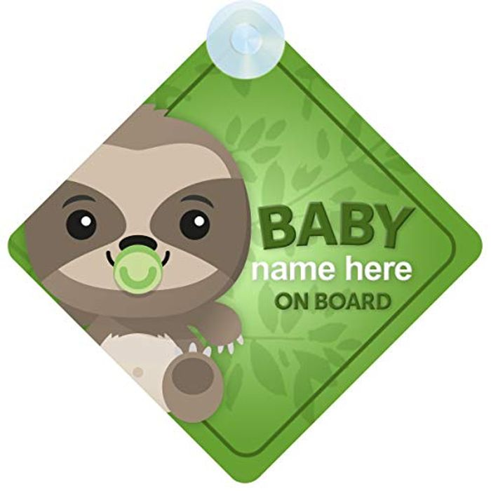 Sloth Personalised Baby on Board Sign