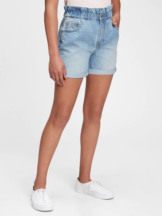 Teen Sky-High Rise Mom Jean Shorts