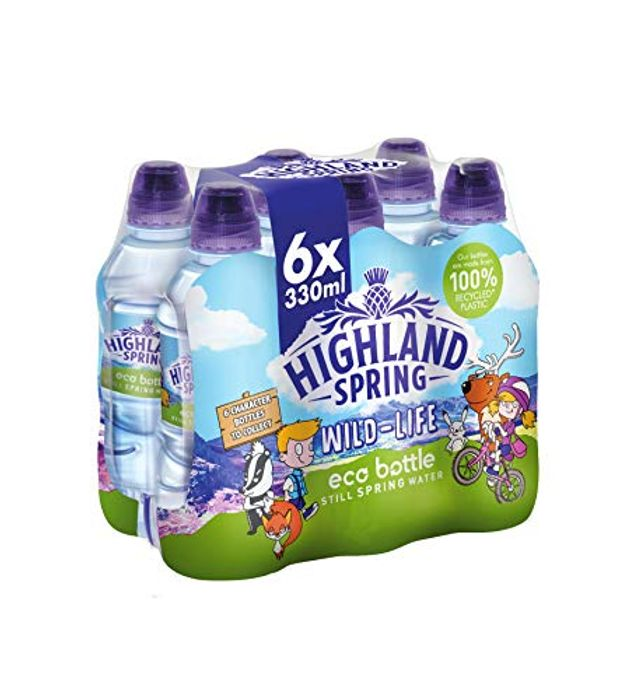 Highland Spring Kids Eco Bottle Still Water, 6 X 330 Ml Sports Cap