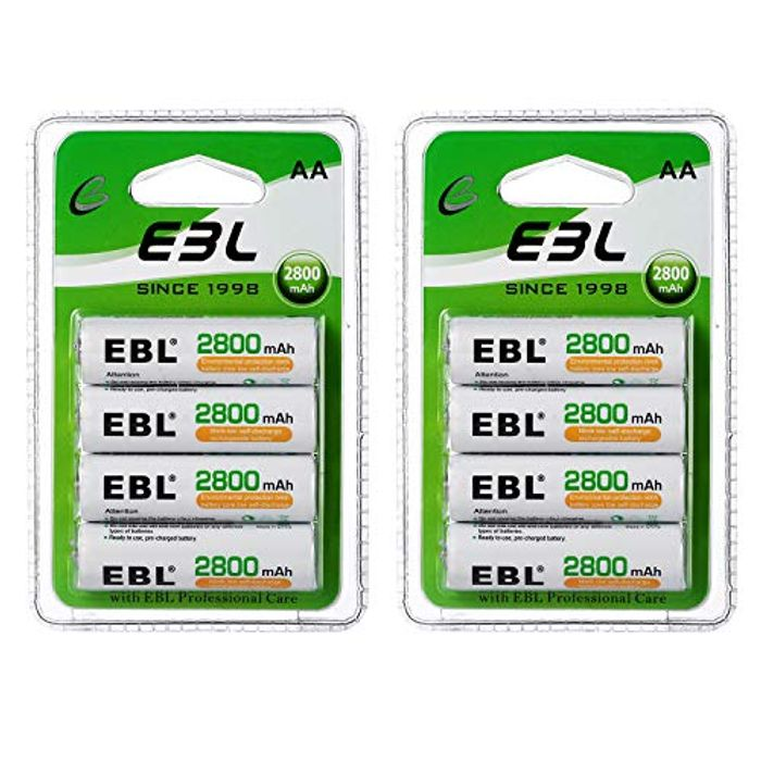 8 Pack EBL AA Rechargeable Batteries