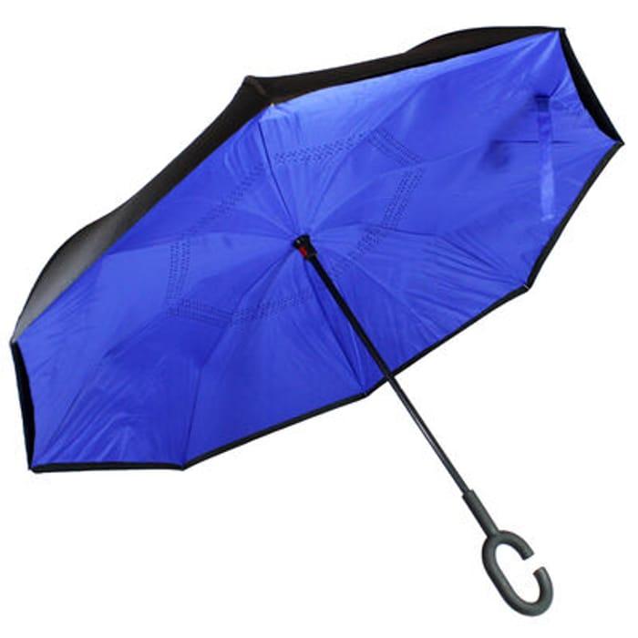 Blue Backwards Brolly inside out Umbrella