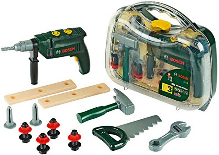 Kids Bosch 16-Part Tool Kit I Inc- Battery-Powered Drill with Light and Sound
