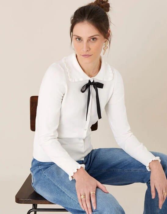 Ribbon Tie Frill Cardigan Ivory