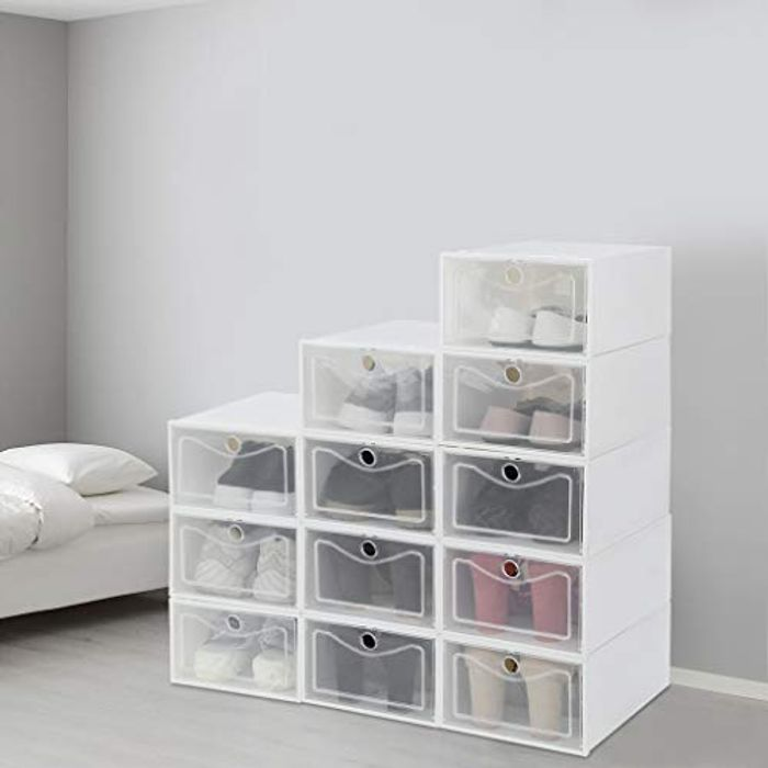12 X Stackable Shoe Organizer with Lids - Only £26.99!