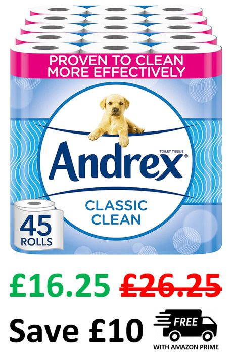 SAVE £10! Andrex Classic Clean Toilet Rolls - 45 Rolls