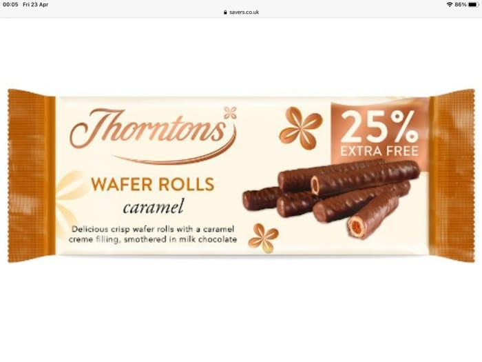 Thorntons Caramel Wafer Rolls 129g