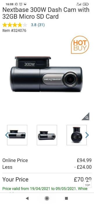 Nextbase 300W Dash Cam with 32GB Micro SD Card