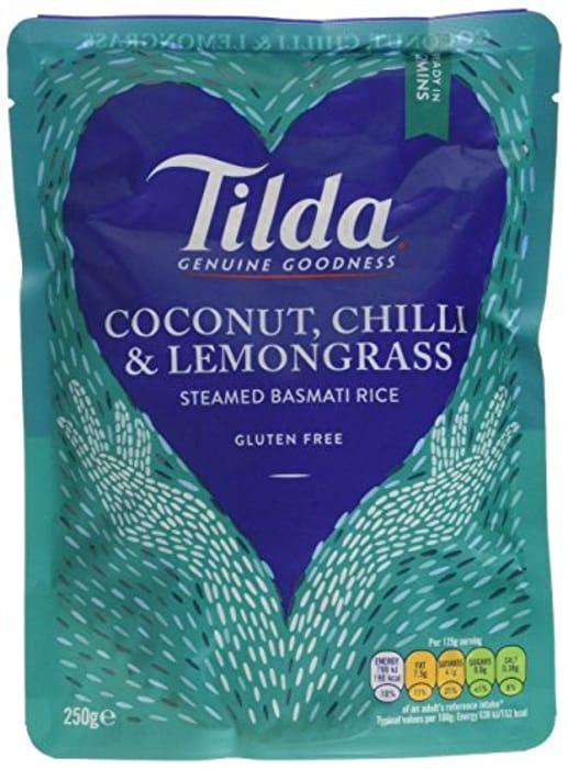Tilda Steamed Basmati Coconut Chilli and Lemongrass Rice 250 G (Pack of 6