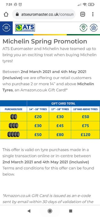 Get Free Amazon Vouchers if You Buy 2 or More Tyres at ATS Euromaster