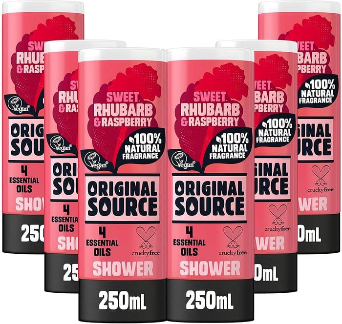 Original Source Rhubarb and Raspberry Shower Gel 250ml - Pack of 6