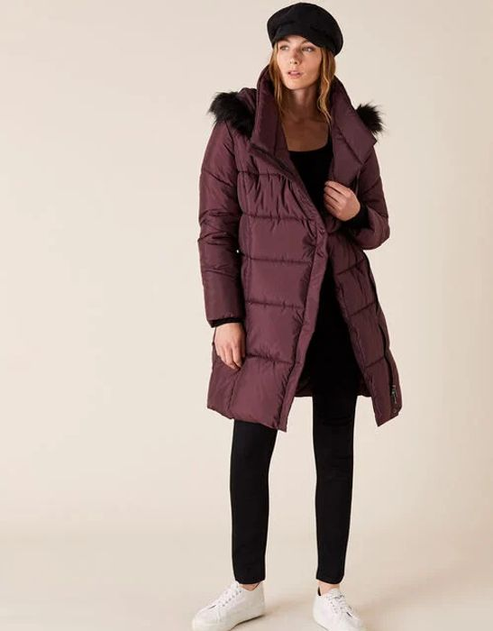 Patsy Long Padded Coat in Recycled Fabric Brown