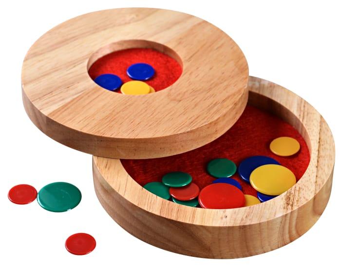 Tiddlywinks - Travel Tiddledy Winks Set with Wooden Storage Case
