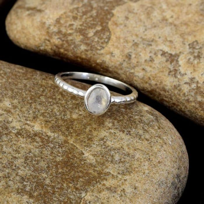Silver Moonstone Gem Ring