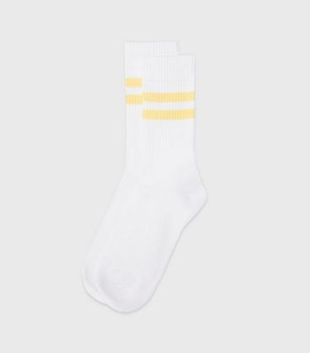 Pale Yellow Sports Stripe Ribbed Socks £2.99 or 3 for £6 at Newlook