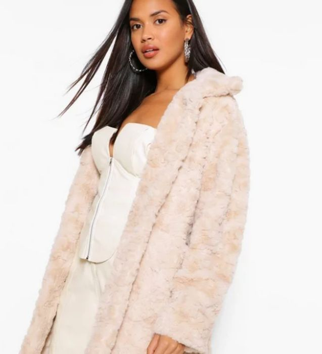 Textured Faux Fur Coat Down to £14