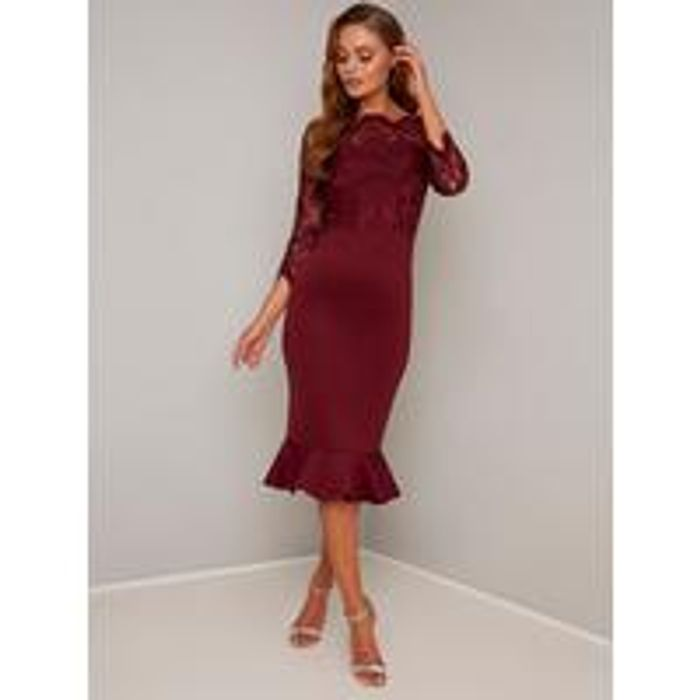 Chi Chi London Harlia Dress - Burgundy