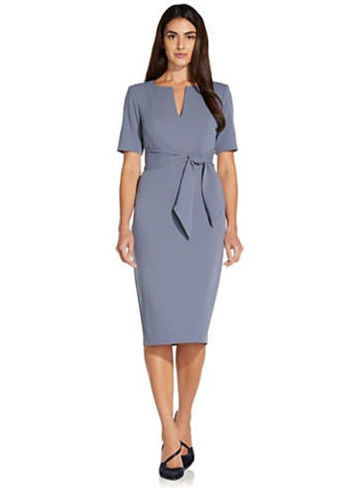 Adrianna Papell Knit Crepe Tie Sheath Dress