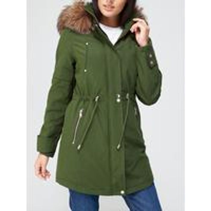 V by Very Luxe Parka with Pu Trim - Khaki