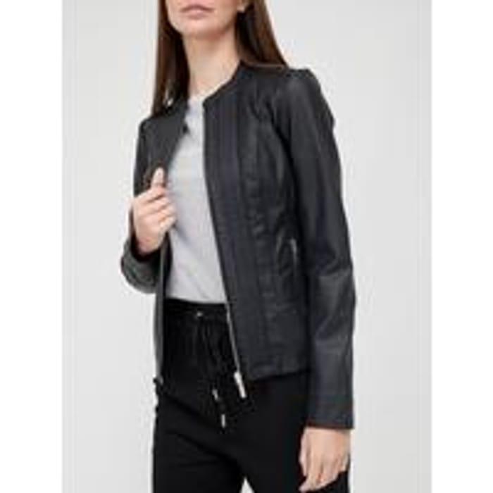 V by Very Seam Detail PU Jacket - Black