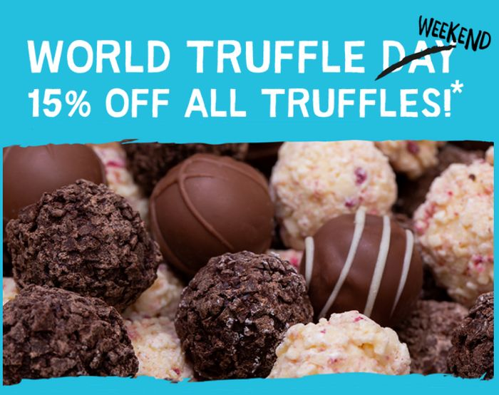 15% off All Our Mouth-Watering Truffles (*Excludes Truffle Bites)