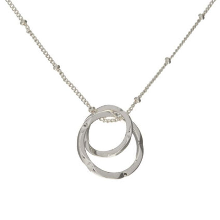 Necklace Silver Tone Claw Fastening Linked Ring Pendant Necklace
