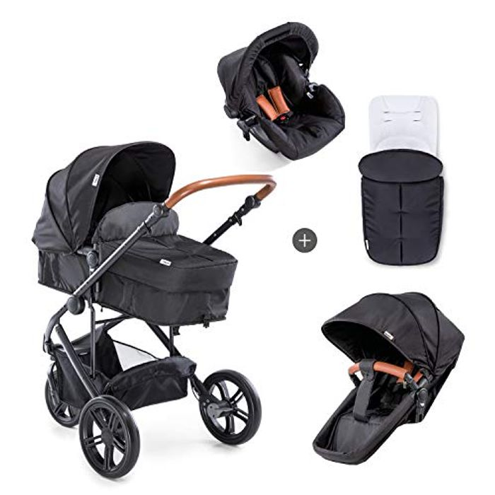 Hauck Pacific 3 Shop N Drive, 3 Wheel Pushchair Set with Group 0 Car Seat