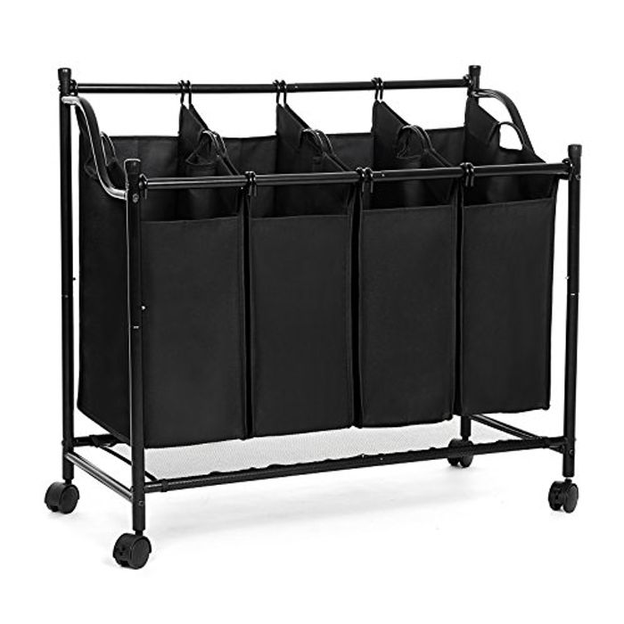 Quick Lightning Deal Four Part Laundry Basket on Wheels