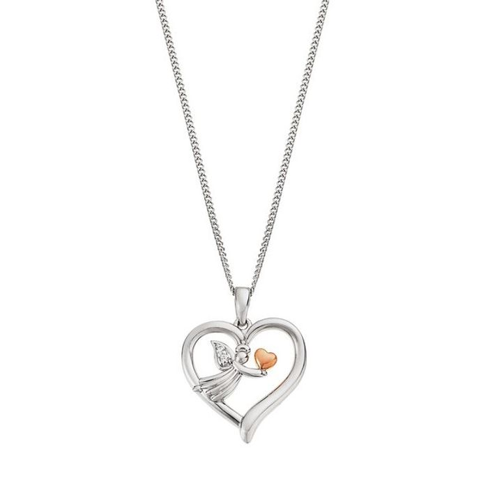 Moon & Back Silver & Rose Gold Angel Necklace