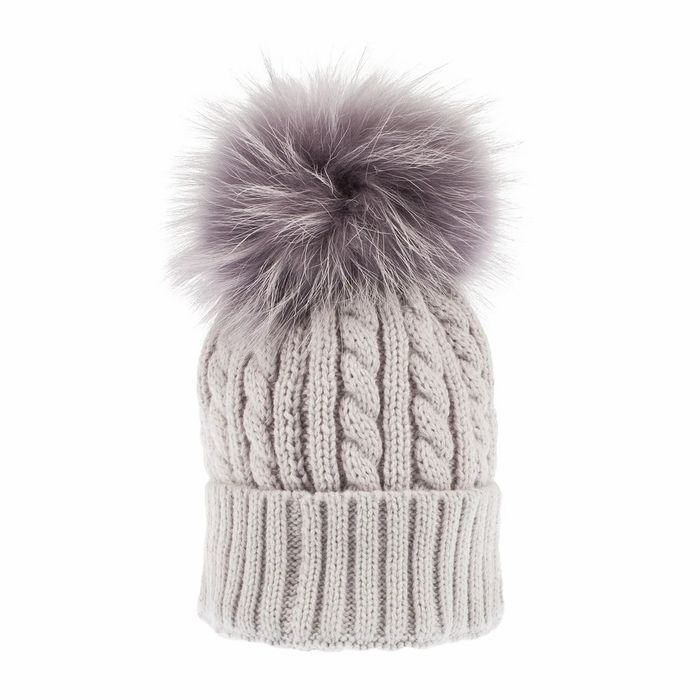 Women's Cable Pom Pom Hat Light Grey/grey