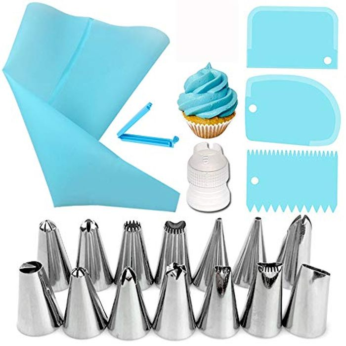 20 Pcs Piping Nozzles and Silicone Piping Bag Set