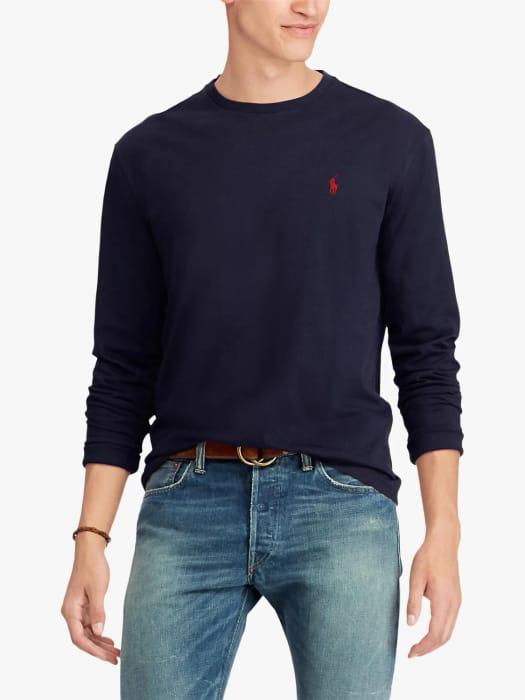Mens Polo Ralph Lauren Custom Slim Fit T-Shirt, Ink Now = £45.00 at John Lewis