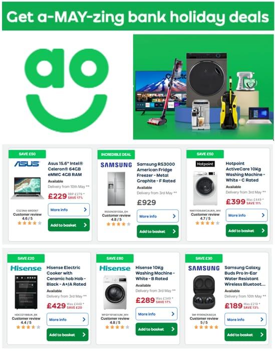 AO - Bank Holiday Deals & Offers - Fridges, Washing Machines, TVs, Laptops