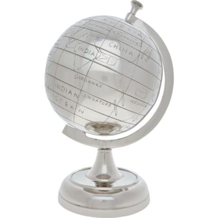 Silver Tone Globe Ornament