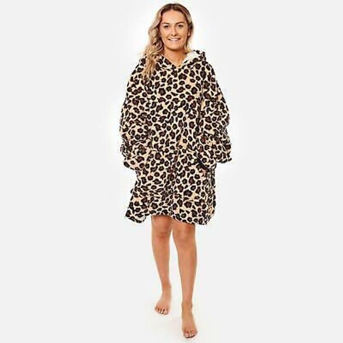 Dreamscene Leopard Print Oversized Hoodie Blanket