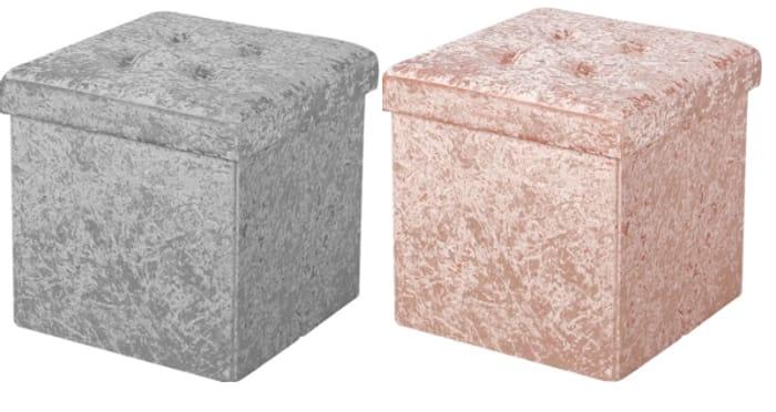 Foldable Small Crushed Velvet Ottoman