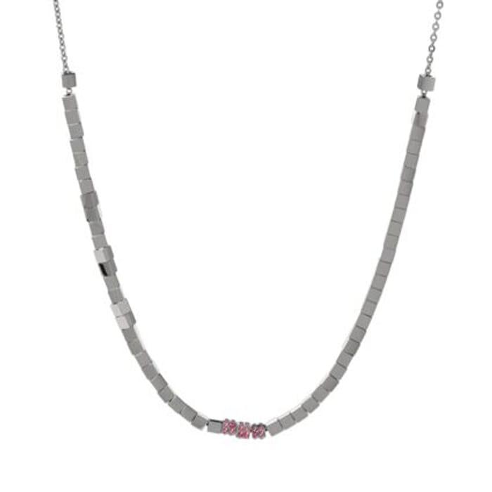 CALVIN KLEIN Silver Tone Beaded Necklace